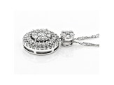 "White Lab-Grown Diamond 14K White Gold Cluster Pendant With 18"" Singapore Chain 0.65ctw"