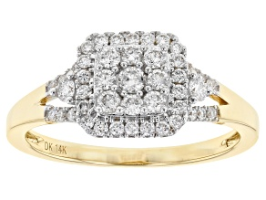 White Lab-Grown Diamond 14K Yellow Gold Ring 0.48ctw