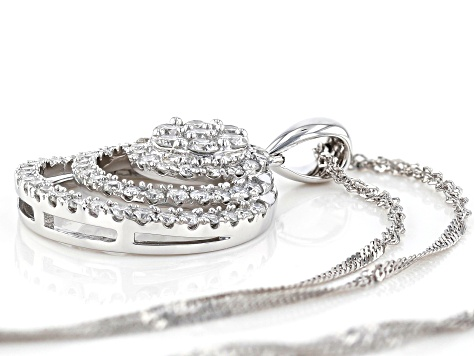 White Lab-Grown Diamond 14K White Gold Pendant With Chain 0.79ctw