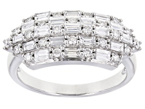 White Lab-Grown Diamond 14K White Gold Ring 0.88ctw