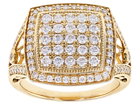 White Lab-Grown Diamond 14K Yellow Gold Ring 0.96ctw