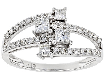 Picture of White Lab-Grown Diamond 14K White Gold Open Design Ring 0.82ctw