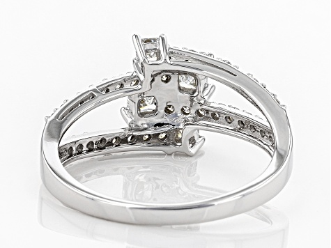 White Lab-Grown Diamond 14K White Gold Open Design Ring 0.82ctw