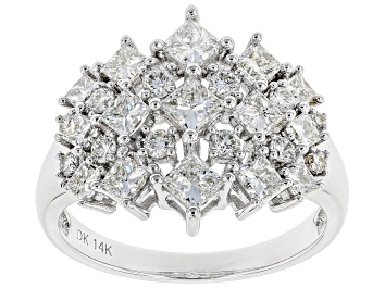 Picture of White Lab-Grown Diamond 14K White Gold Cluster Ring 1.85ctw