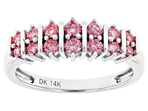 Pink Lab-Grown Diamond 14K White Gold Ring 0.57ctw
