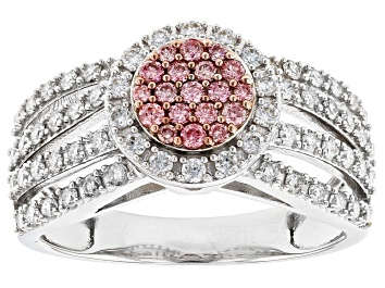 Picture of Peach-Pink And White Lab-Grown Diamond 14K White Gold Cluster Ring 0.80ctw
