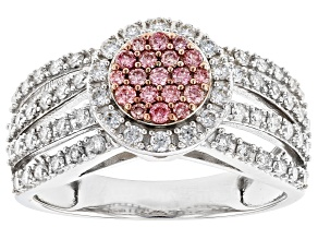 Pink And White Lab-Grown Diamond 14K White Gold Ring 0.80ctw
