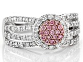 Pink And White Lab-Grown Diamond 14K White Gold Cluster Ring 0.80ctw