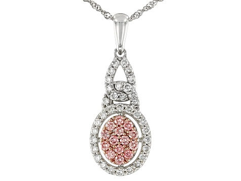 Pink And White Lab-Grown Diamond 14K White Gold Pendant With 18