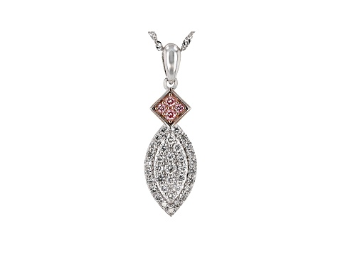 Pink And White Lab-Grown Diamond 14K White Gold Pendant W/ 18