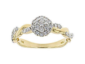 Picture of White Lab-Grown Diamond 14K Yellow Gold Cluster Ring 0.43ctw