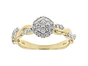 White Lab-Grown Diamond 14K Yellow Gold Cluster Ring 0.43ctw