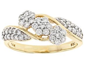 White Lab-Grown Diamond 14K Yellow Gold Ring 0.50ctw