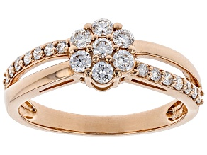 White Lab-Grown Diamond 14K Rose Gold Ring 0.50ctw