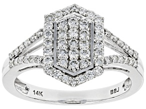 White Lab-Grown Diamond 14K White Gold Cluster Ring 0.56ctw