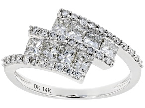White Lab-Grown Diamond 14K White Gold Cluster Ring 1.31ctw
