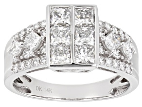 White Lab-Grown Diamond 14K White Gold Cluster Ring 1.74ctw