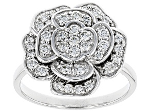 White Lab-Grown Diamond 14K White Gold Flower Cluster Ring 0.67ctw