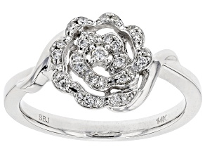 White Lab-Grown Diamond 14K White Gold Ring 0.19ctw