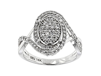 Picture of White Lab-Grown Diamond 14K White Gold Cluster Ring 0.70ctw