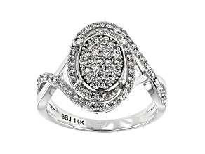 White Lab-Grown Diamond 14K White Gold Cluster Ring 0.70ctw