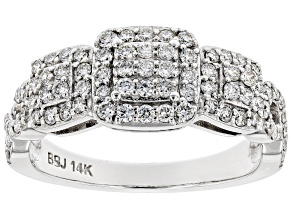 White Lab-Grown Diamond 14K White Gold Ring 0.76ctw