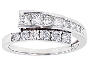 White Lab-Grown Diamond 14K White Gold Bypass Ring 1.00ctw