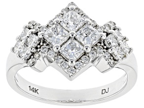 White Lab-Grown Diamond 14K White Gold Cluster Ring 1.35ctw