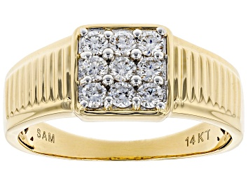 Picture of White Lab-Grown Diamond 14K Yellow Gold Mens Cluster Ring 0.56ctw