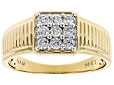 White Lab-Grown Diamond 14K Yellow Gold Mens Cluster Ring 0.56ctw