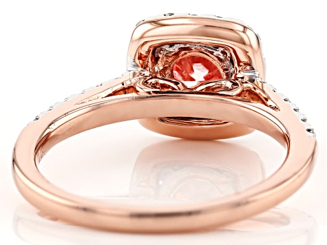 Pink And White Lab-Grown Diamond 14k Rose Gold Halo Ring 1.50ctw