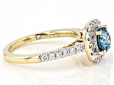 Blue And White Lab-Grown Diamond 14k Yellow Gold Halo Ring 1.50ctw