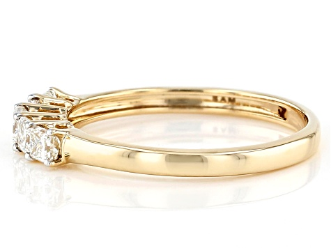 White Lab-Grown Diamond 14k Yellow Gold Band Ring 0.59ctw