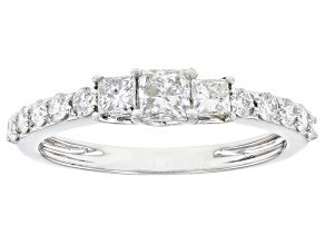 White Lab-Grown Diamond 14k White Gold Ring 0.79ctw
