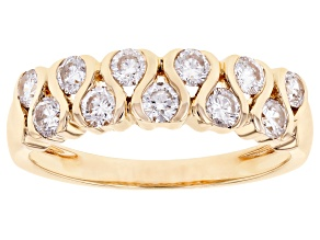 White Lab-Grown Diamond 14k Yellow Gold Band Ring 0.75ctw