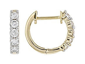 White Lab-Grown Diamond 14k Yellow Gold Hoop Earrings 0.45ctw
