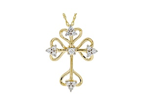 "White Lab-Grown Diamond 14k Yellow Gold Cross Pendant With 18"" Rope Chain 0.35ctw"