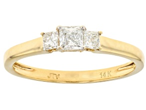 White Lab-Grown Diamond 14k Yellow Gold 3-Stone Ring 0.48ctw
