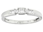 White Lab-Grown Diamond 14k White Gold Ring With Matching Band 0.60ctw