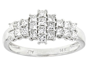 White Lab-Grown Diamond 14k White Gold Cluster Ring 1.04ctw