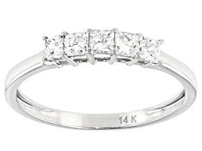 White Lab-Grown Diamond 14k White Gold Band Ring 0.59ctw