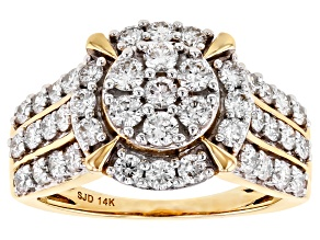 White Lab-Grown Diamond 14k Yellow Gold Cluster Ring 1.50ctw