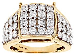 White Lab-Grown Diamond 14k Yellow Gold Cluster Ring 1.95ctw