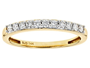 White Lab-Grown Diamond 14k Yellow Gold Band Ring 0.25ctw