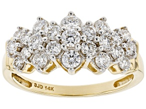 White Lab-Grown Diamond 14k Yellow Gold Cluster Ring 1.05ctw