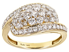 White Lab-Grown Diamond 14k Yellow Gold Cluster Ring 1.00ctw