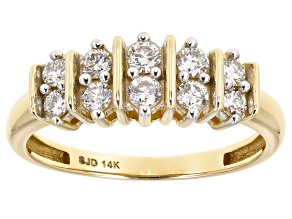 White Lab-Grown Diamond 14k Yellow Gold Band Ring 0.50ctw