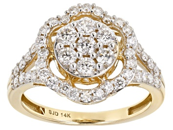 Picture of White Lab-Grown Diamond 14k Yellow Gold Flower Cluster Ring 1.00ctw