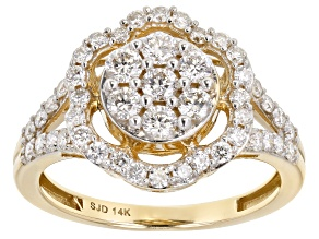 White Lab-Grown Diamond 14k Yellow Gold Flower Cluster Ring 1.00ctw