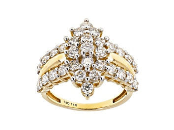 Picture of White Lab-Grown Diamond 14k Yellow Gold Cluster Ring 1.95ctw